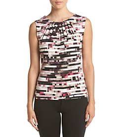 Calvin Klein Petites' Pleatneck Pixelated Grid Cami