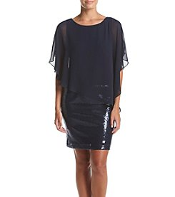 MSK® Sequin Shift With Chiffon Popover Dress