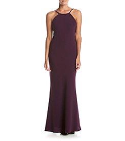 Calvin Klein Halter Crepe Gown
