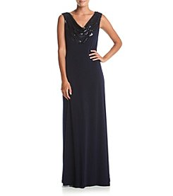 Calvin Klein Scoop Neck Matte Jersey Gown