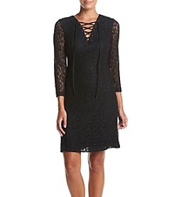 GUESS Lace Sleeve Lace Up Front Sheath Dress