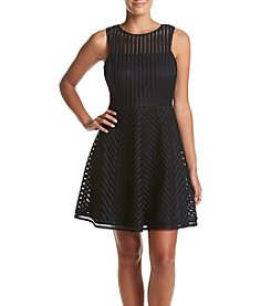 GUESS Textured Line Pattern Fit And Flare Dress