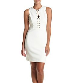 GUESS Lace Front Grommet Sheath Dress