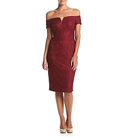 GUESS Off The Shoulder Lace Sheath Dress