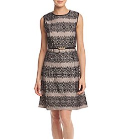Jessica Simpson Lace Stripe Fit And Flare Dress