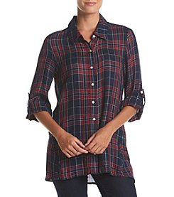 Fever™ Plaid Button Front High-Low Top