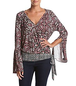 Fever™ Printed Wrap Top With Side Sash