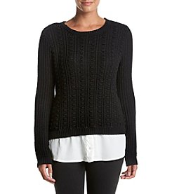 Cupio Textured Crew Neck Sweater