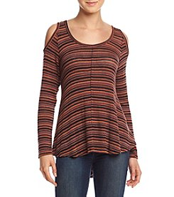 Eyeshadow® Knit Stripe Cold Shoulder Top