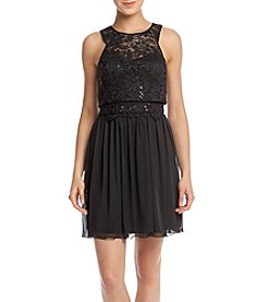 A. Byer Popover Sequin Lace Party Dress