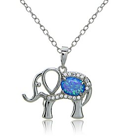 Designs by FMC Sterling Silver Cubic Zirconia and Created Blue Opal Elephant Pendant Necklace