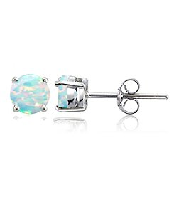 Designs by FMC Sterling Silver Created Opal Round Stud Earrings