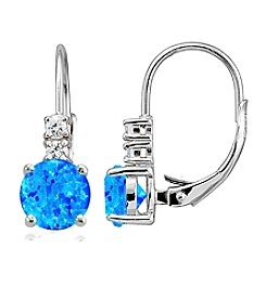 Designs by FMC Sterling Silver Created Blue Opal Round Drop Earrings