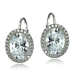 Designs by FMC Sterling Silver Cubic Zirconia Oval Halo Drop Earrings