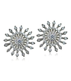 Designs by FMC Sterling Silver Cubic Zirconia Sunburst Earrings