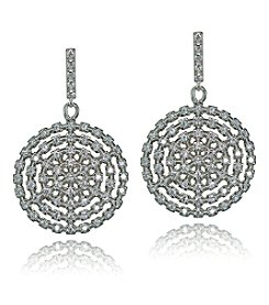 Designs by FMC Sterling Silver Cubic Zirconia Circle Drop Earrings