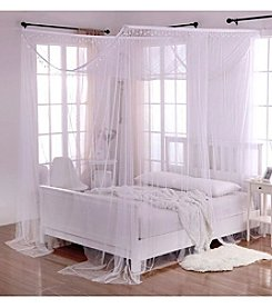 Casablanca Palace Crystal 4-Post Bed Sheer Panel Canopy