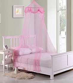 Casablanca Kids Buttons and Bows Collapsible Hoop Sheer Bed Canopy