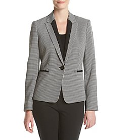 Kasper® One Button Houndstooth Print Jacket