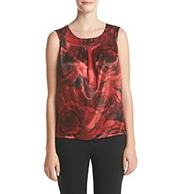 Kasper® Rose Print Pleat Neck Cami