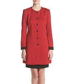 Nine West® Solid Button Front Coat Dress