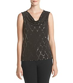 Nine West® Diamond Print Drape Neck Cami