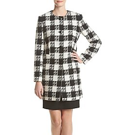 Nine West ® Plaid Four Button Coat With Patches