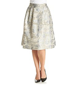 Calvin Klein Flared Metallic Jacquard Skirt