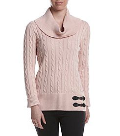 Calvin Klein Cowl Neck Buckle Sweater