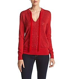 MICHAEL Michael Kors® Velvet Tie Neck Sequin Sweater