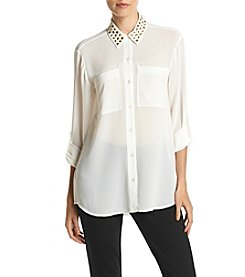 MICHAEL Michael Kors® Embellished Neck Button Front Top