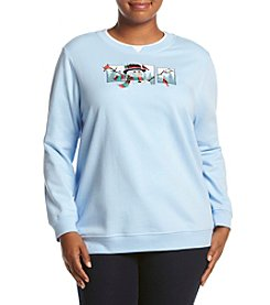 Breckenridge ® Plus Size Just Chillin Crew Neck Embellished Fleece
