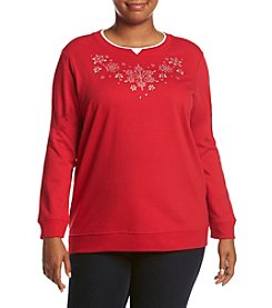 Breckenridge ® Plus Size Crystal Snowflakes Crew Neck Embellished Fleece