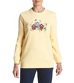 Breckenridge® Petites' Crew Neck Embellished Fleece
