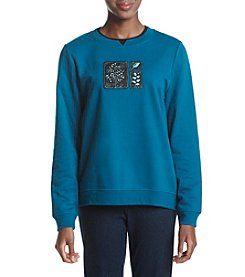 Breckenridge® Petites' Tree And Leaves Crew Neck Embellished Fleece