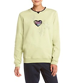 Breckenridge ® Petites' Heart Flowers Crew Neck Embellished Fleece