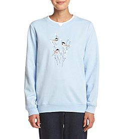 Breckenridge ® Petites' Willow Chicks Crew Neck Embellished Fleece