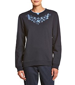 Breckenridge® Petites' Lovely Crew Neck Embellished Fleece