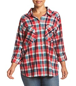 Skylar & Jade® Plus Size Lace Back Flannel Top