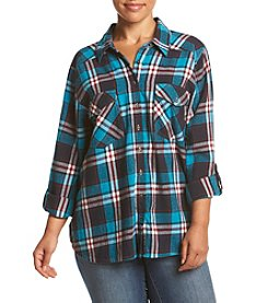 Skylar & Jade™ Plus Size Lace Back Flannel Top