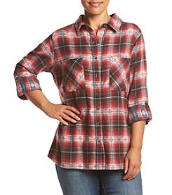 Skylar & Jade™ Plus Size Print Back Flannel Top
