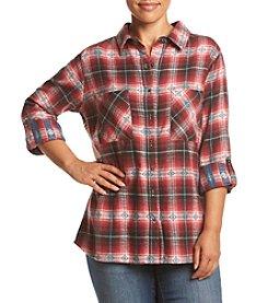 Skylar & Jade™ Plus Size Print Back Flannel Top