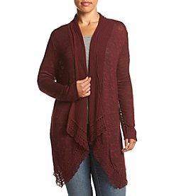 Eyeshadow® Plus Size Crochet Hem Cardigan