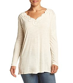 Eyeshadow® Plus Size Crochet Detail Knit Top