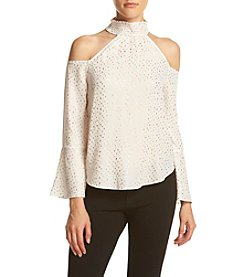 XOXO® Cold Shoulder Dot Blouse