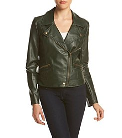 Sequin Hearts® Faux Leather Moto Jacket