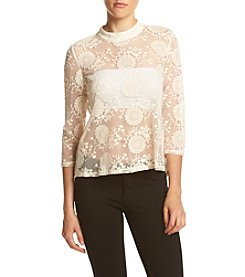 Sequin Hearts® Mockneck Lace Blouse