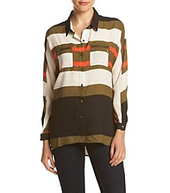 Sequin Hearts® Stripe Utility Blouse