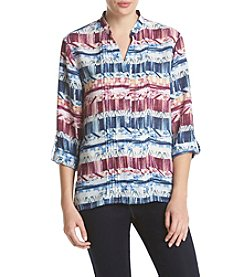 Alfred Dunner® Sierra Madre Roll Tab Sleeve Blouse