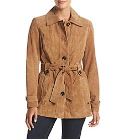 MICHAEL Michael Kors® Belted Button Front Suede Jacket